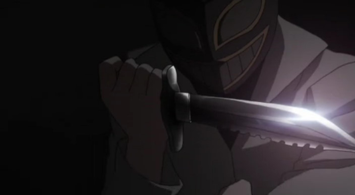 マスクの不審者のサバイバルナイフ