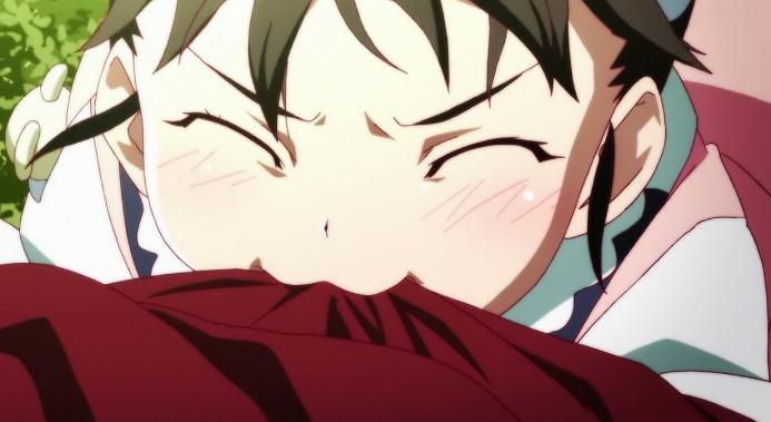 八九寺 真宵の背中にキス